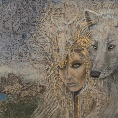 White Wolf_Evolutionary Art_Kimberly-Webber_Contemporary Symbolist Paintings_Magical Realism_Transcendental Art_Archetypal Visionary Artist_Taos New Mexico