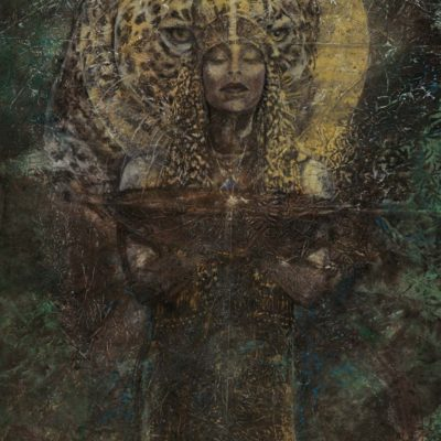 "Jaguar of the Malinalco | 36"" x 24"" earth pigments, oil on panel"