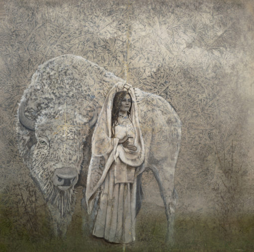 "White Buffalo | 36"" x 36"" rice paper, earth pigments, oil on panel"