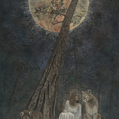 lunar eclipse_Kimberly-Webber_Contemporary Symbolist Paintings_Magical Realism_Transcendental Art_Archetypal Visionary Artist_Taos New Mexico