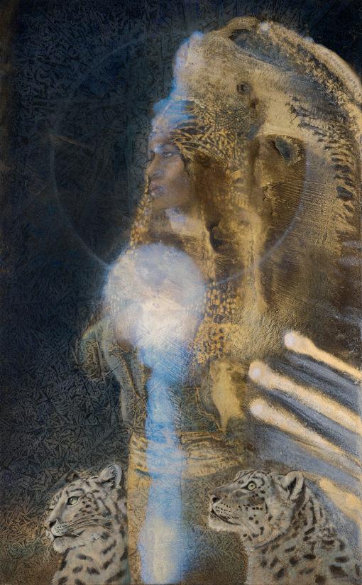 Kimberly Webber_Contemporary Symbolisim_Mintaka_Snow Leopards_Archetype_Earth Pigments_Alchemy_Biophtonic Art_ Light and Space_ Taos