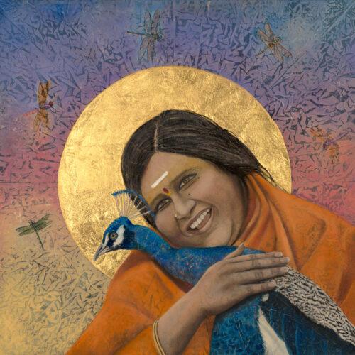"Amma Sri Karunamayi I 24"" x 24"" rice paper, earth pigments, 23kt gold, encaustic, oil on panel"